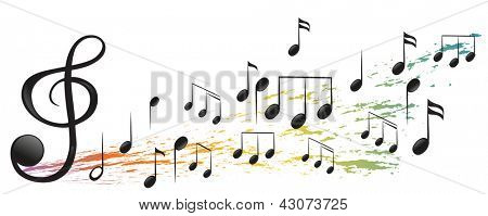 Illustration of the G-clef and the different musical notes on a white background