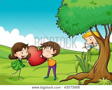 Illustration of a girl and a boy holding a red heart