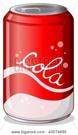 Illustration of a can of cola on a white background