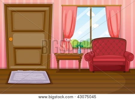 Illustration of an empty living room