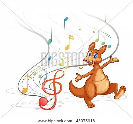 Illustration of a kangaroo with the musical notes on a white background
