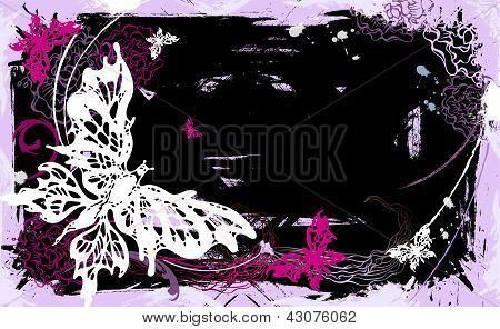 Vector Horizontal Backgroung With Butterflies And Flowers