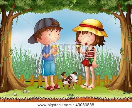 Illustration of a boy with a glass of juice and a girl with an ice cream