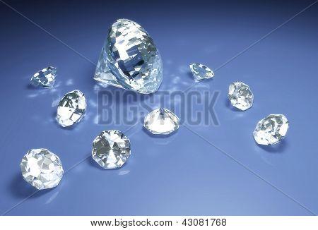 Diamonds On A Blue Surface