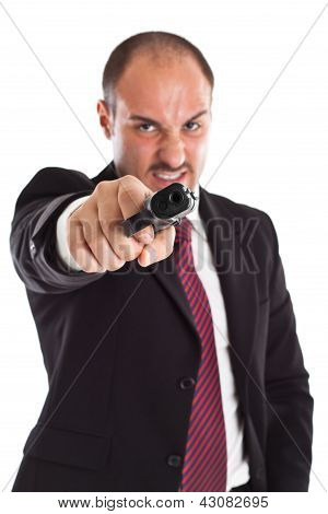 Furious Businessman With A Gun