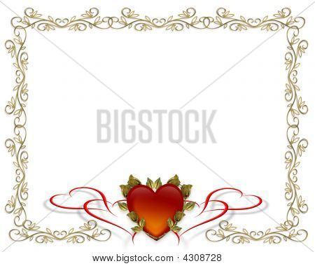 Valentines Day Gold Border