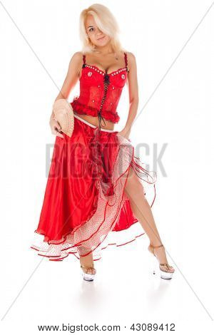 young dancing woman in long red dress with fan