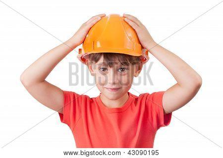 Little Girl In The Protective Helmet