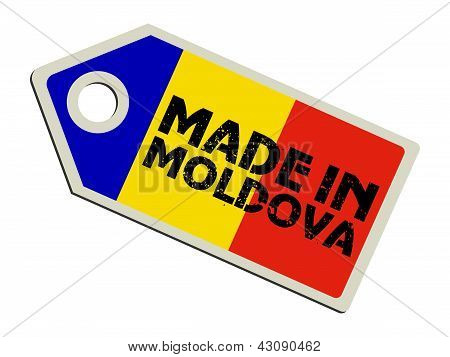 label with flag of Moldova