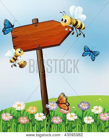 Abbildung eines Pfeil-Boards mit Insekten