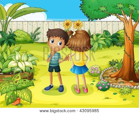 Illsutration of a boy and a girl arguing in the garden