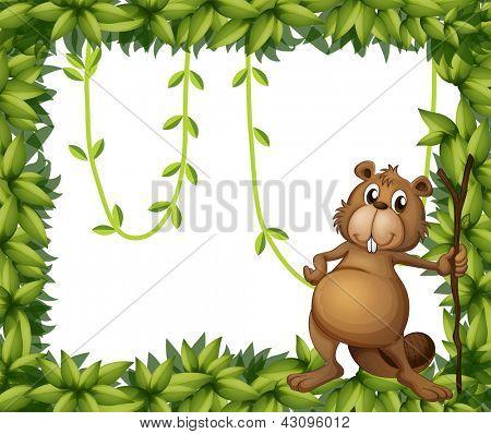 Beispiel für ein Biber hält einen Stock auf einem grünen Rahmen