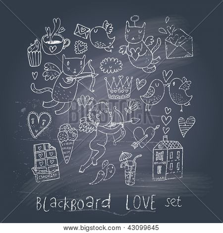 Romantic cartoon symbols on chalk board in EPS10 vector. Love concept with cupid, sweets, cat, birds and others