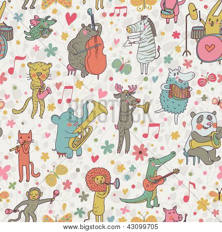 Animals musicians: lion, leopard, elephant, pig, cat, dog, panda, bear, elk, alligator, monkey, sheep, rabbit and zebra in cartoon seamless pattern in vector