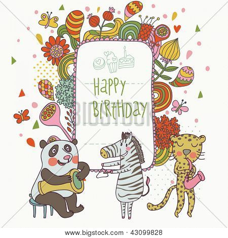 Cartoon funny panda, zebra and leopard congratulating happy birthday. Nice holiday card in vector