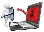 foto of antivirus  - 3d white person - JPG
