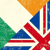 Постер, плакат: Флаг Ирландии и Великобритании гранж