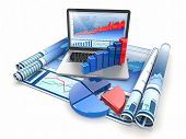 stock photo of graphs  - Business analyze - JPG
