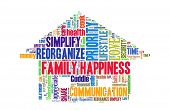 Family happiness concept in word collage