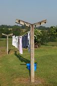 picture of wet pants  - Clothes drying on a clothesline - JPG