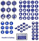 Health safety sign button set
