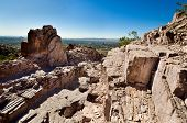 stock photo of piestewa  - Square Rock Formation Cutting Through Piestewa  - JPG