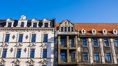 stock photo of tenement  - Destroyed and renovated facades of old tenements in Katowice - JPG