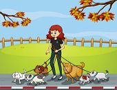 Illustration of a lady at the park strolling with her pets
