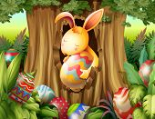 pic of rabbit hole  - Illustration of a rabbit inside the hole of a tree surrounded with eggs - JPG