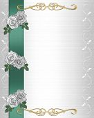 image of wedding invitation  - Image and illustration composition white roses design element for Valentine wedding invitation background border or frame with copy space - JPG