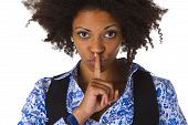 picture of shhh  - Young afro american saying shhh - JPG