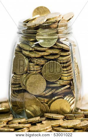 Glass Jar Full Of Twenty Euro Coins