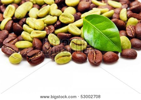 Green and black coffee beans on white background.
