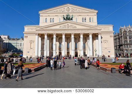 Tourists Near Bolshoi Theatre In Moscow
