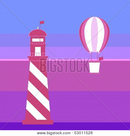 Lighthouse And Balloon Romantic Background