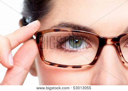 Eyeglasses. Woman wearing eyeglasses. Optometrist background.