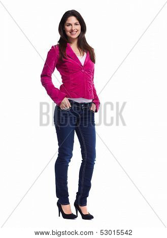Young beautiful woman standing full over white background.