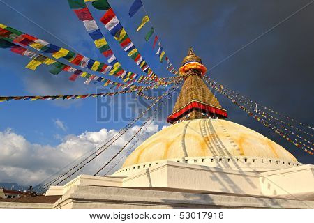 Boudhanath Buddhist Stupa In Late Afternoon Lights. Kathmandu, Nepal