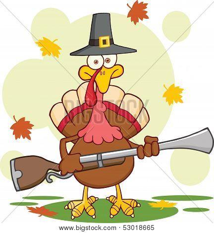 Pilgrim Turkey Bird Cartoon Character With A Musket