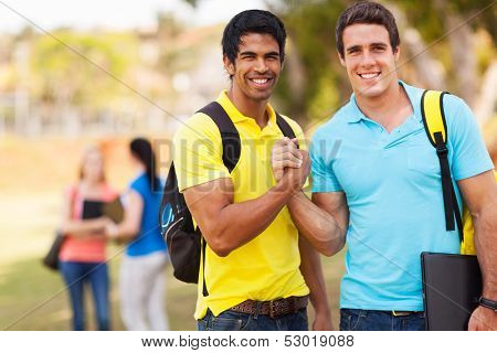 cheerful male university students brotherhood