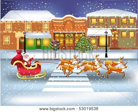 santa claus running through the town in his sledge