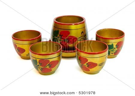 Russian Painted Wooden Pot With Cups Isolated