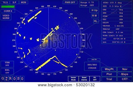 Blue Modern Ship Radar Screen With Round Map And Standard Text Labels