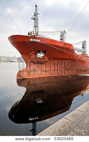 Bulbous Bow Design Detail On Moored Trader Ship. Russia, Saint-petersburg, Neva River, Leytenanta Sh