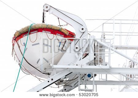White Rescue Boat On Passenger Ferry Above White Background