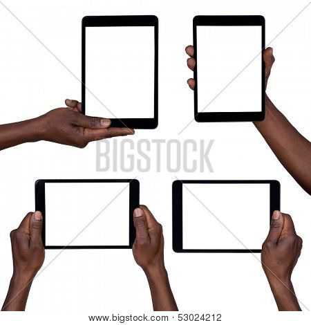 Man holding blank tablets isolated on white collection