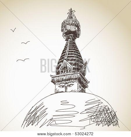Hand drawn traditional buddhist stupa Nepal