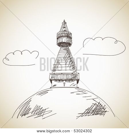 Sketch of Boudha Stupa in Kathmandu