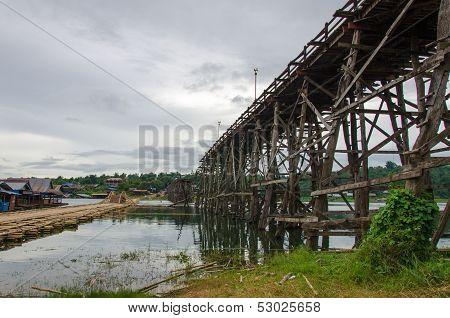 Longest Wooden Bridge In Thailand