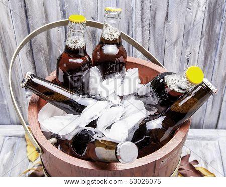 Bucket of Beer Bottles
